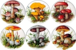 [T MUSH1B) Mushrooms 1 set of 6 (150mm)