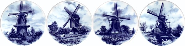 Blue Windmills Set of 4 (90mm)