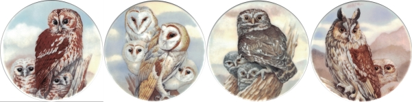 Owls 3 Set of 4 (150mm)