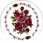 Red Roses with border Single (90mm)