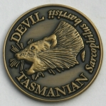 SCTDG Souvenir Coin Tasmanian Devil Antique Gold